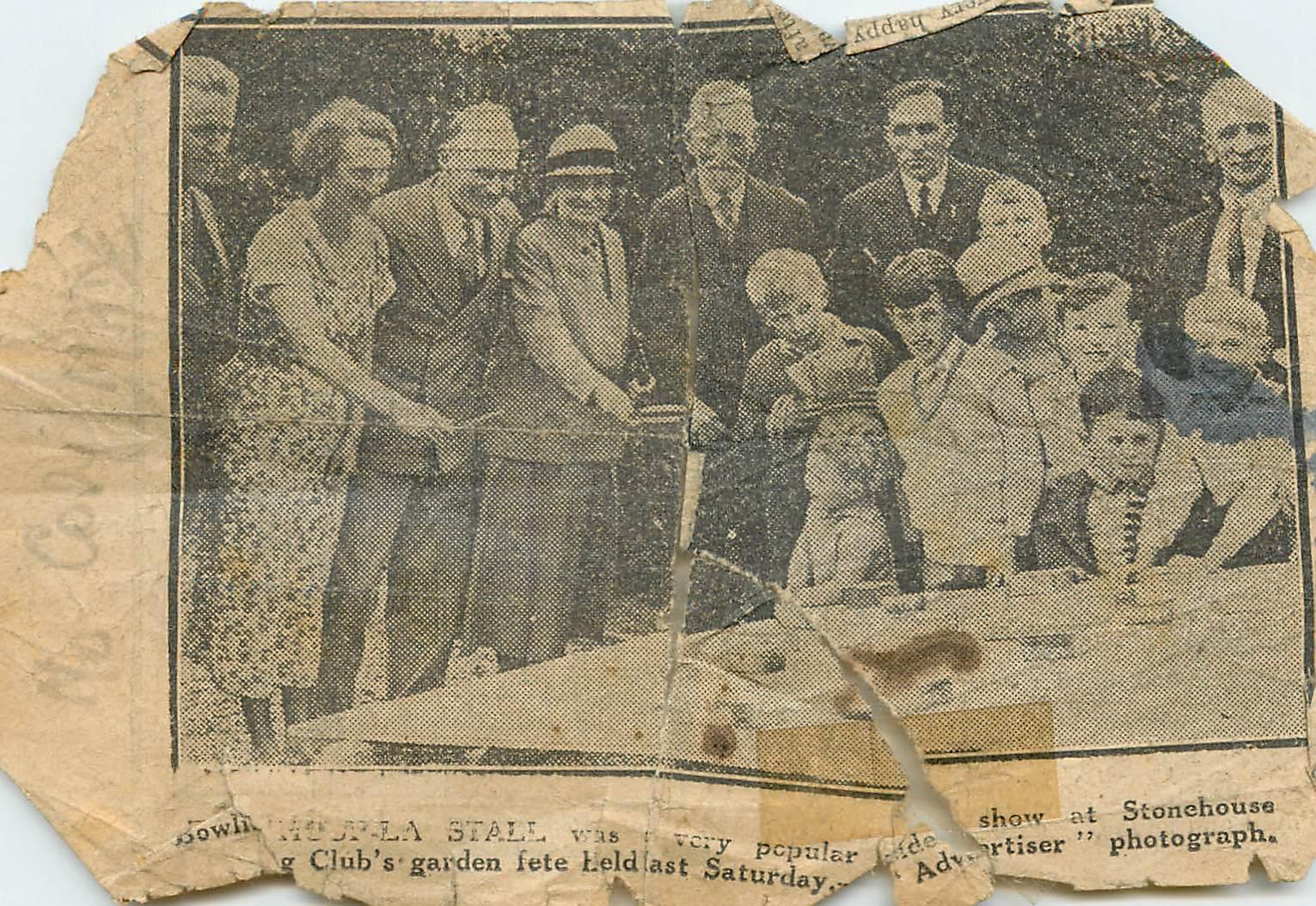Garden Fete newspaper clipping